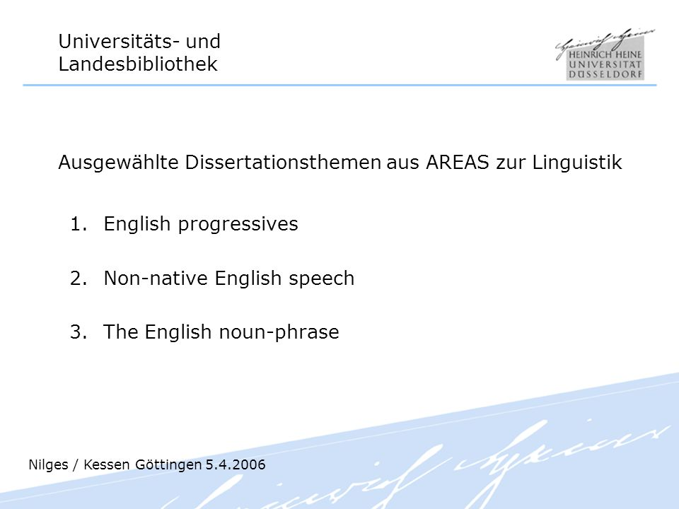 Ausgewählte Dissertationsthemen aus AREAS zur Linguistik