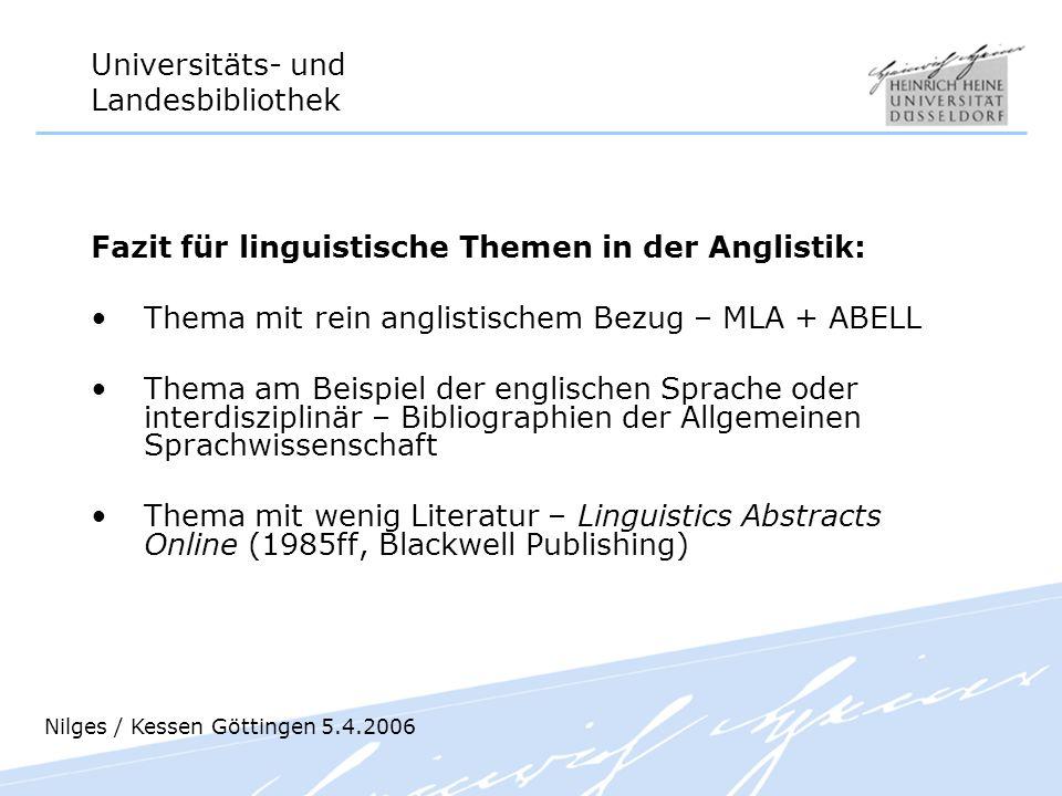 Fazit für linguistische Themen in der Anglistik: