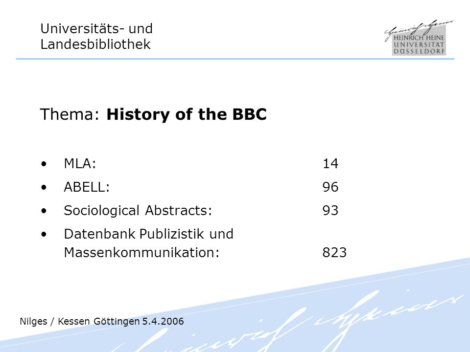 Thema: History of the BBC