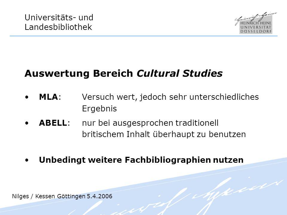 Auswertung Bereich Cultural Studies