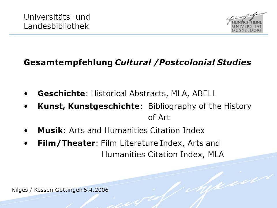 Gesamtempfehlung Cultural /Postcolonial Studies