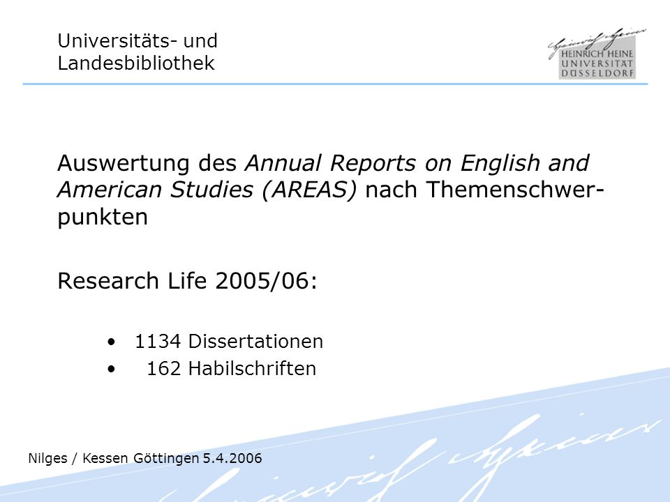 Auswertung des Annual Reports on English and American Studies (AREAS) nach Themenschwer- punkten
