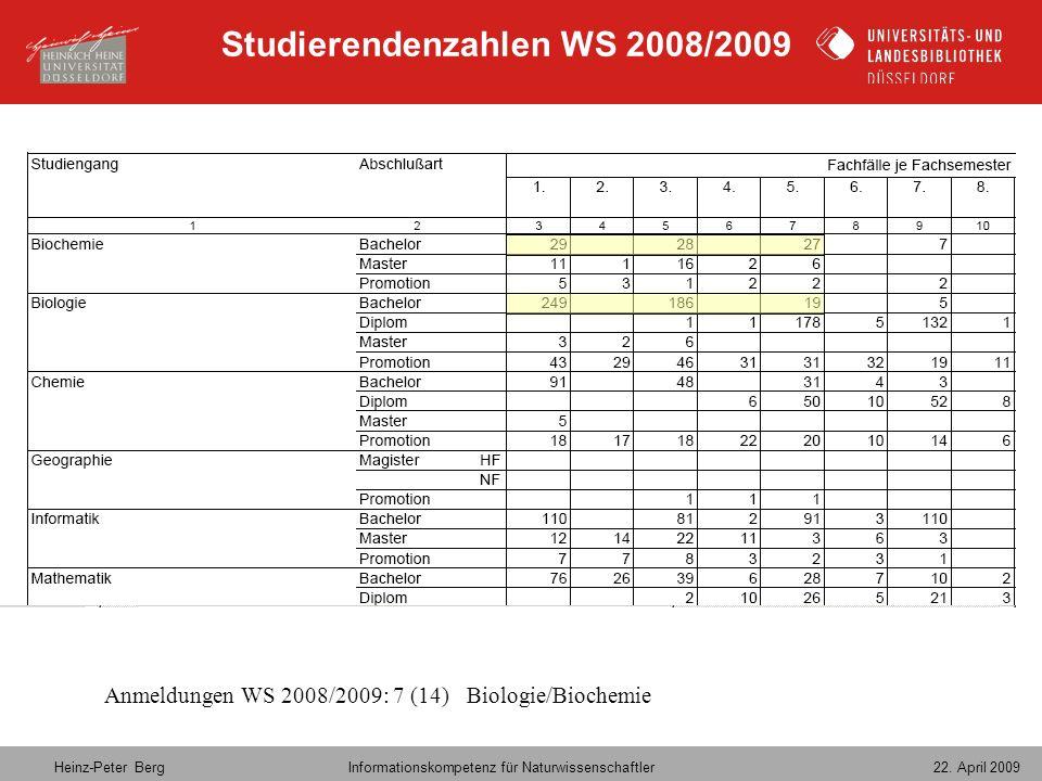 Studierendenzahlen WS 2008/2009