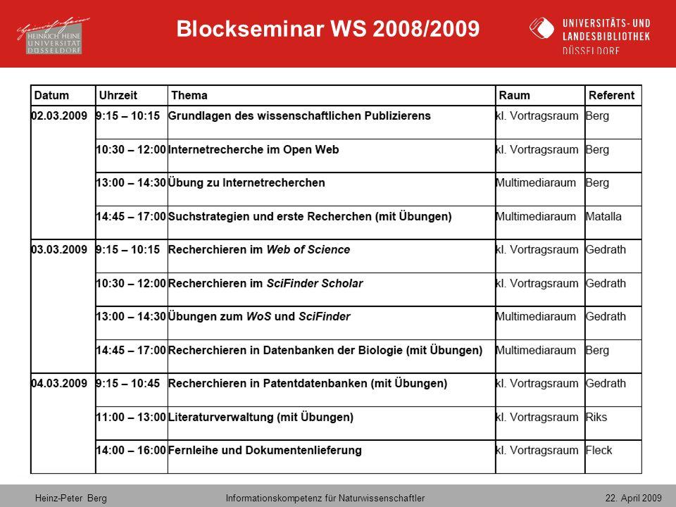 Blockseminar WS 2008/2009