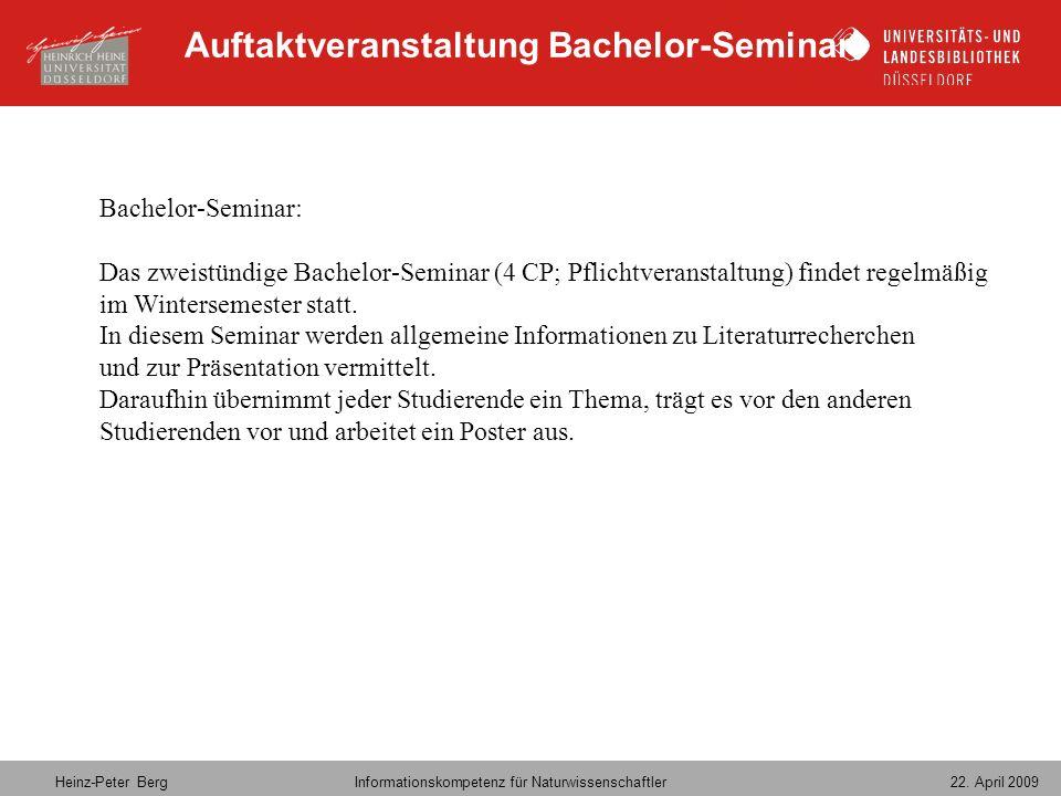 Auftaktveranstaltung Bachelor-Seminar