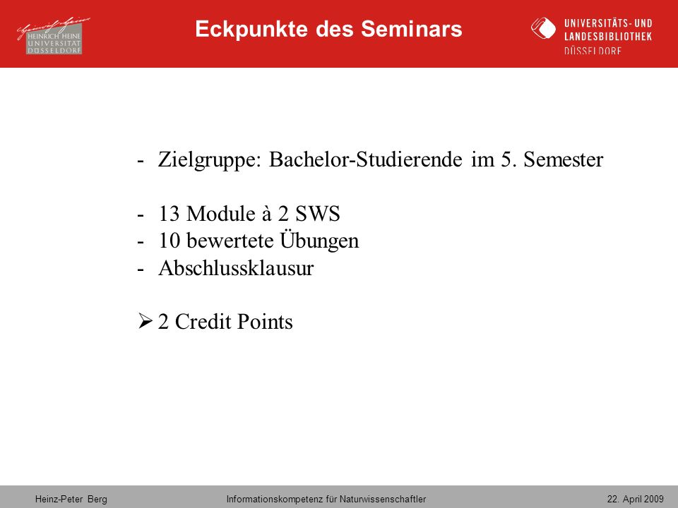 Eckpunkte des Seminars
