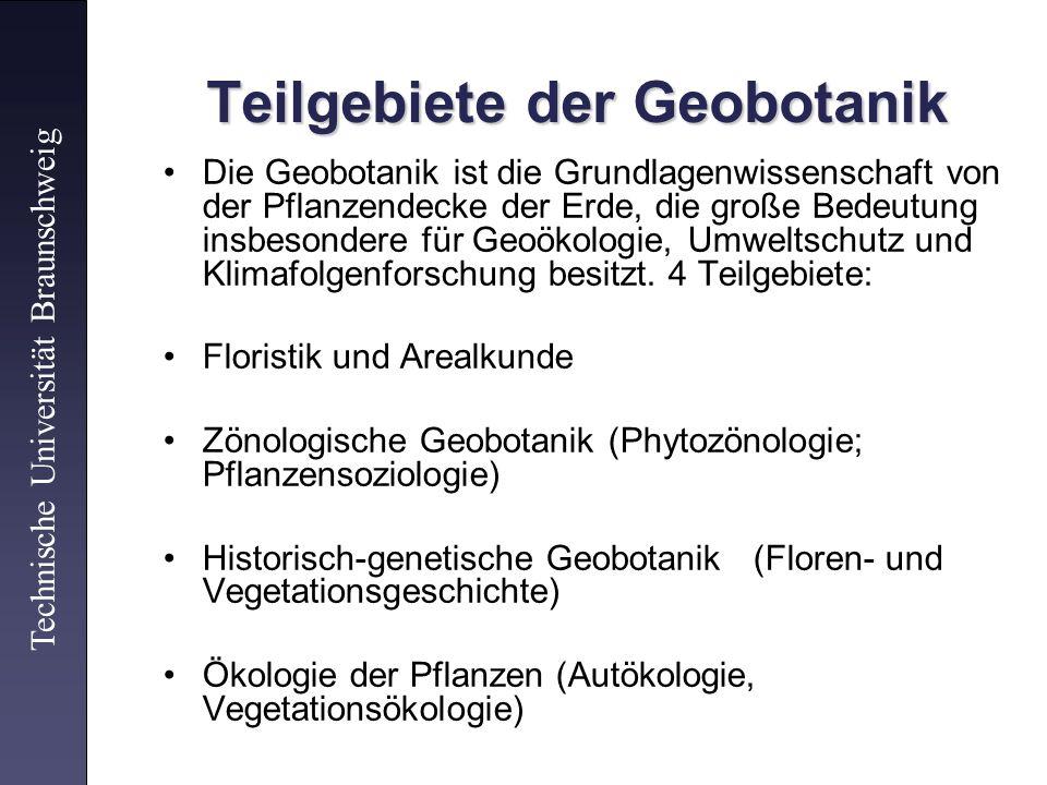 Teilgebiete der Geobotanik
