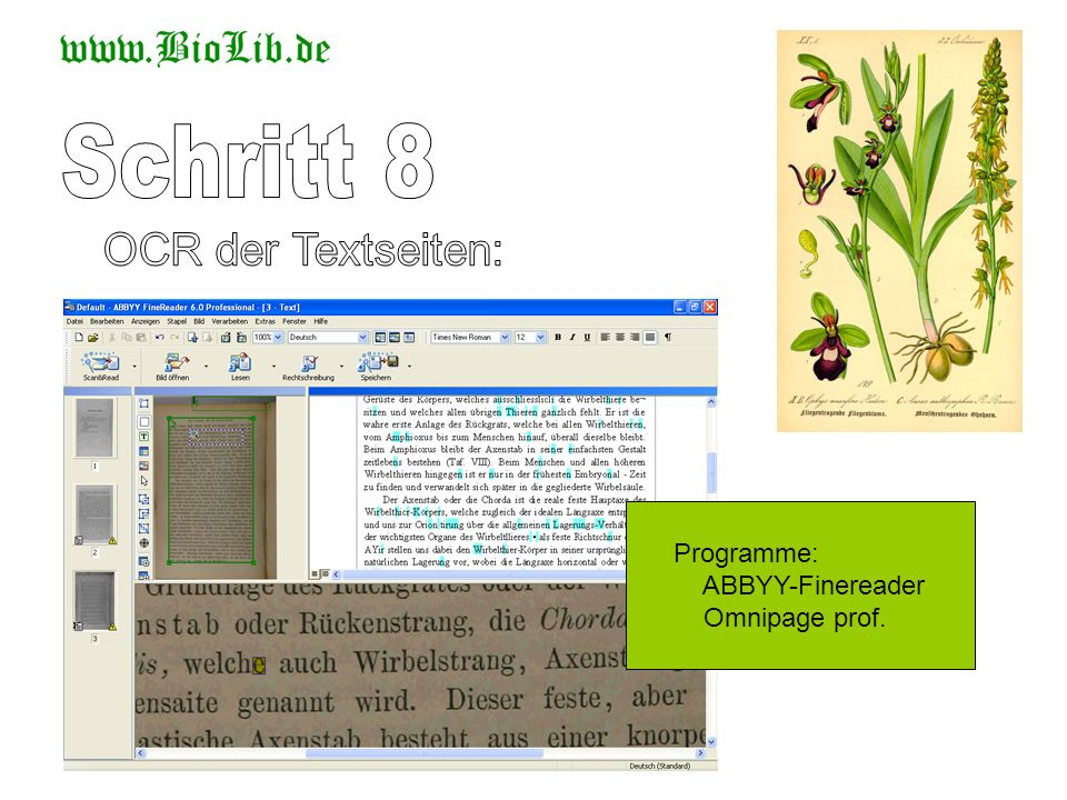 Schritt 8 OCR der Textseiten: Programme: ABBYY-Finereader