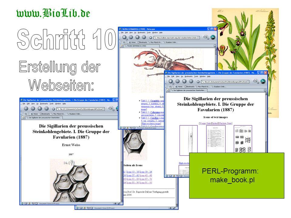 Schritt 10 Erstellung der Webseiten: PERL-Programm: make_book.pl