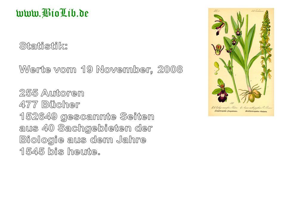 Statistik: Werte vom 19 November, 2008. 255 Autoren. 477 Bücher. 152649 gescannte Seiten. aus 40 Sachgebieten der.