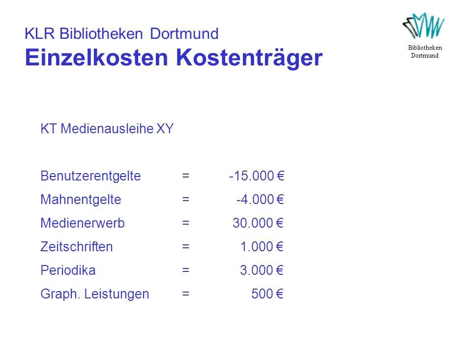 KLR Bibliotheken Dortmund Einzelkosten Kostenträger