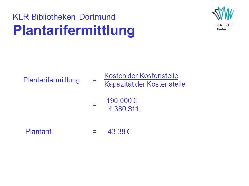 KLR Bibliotheken Dortmund Plantarifermittlung