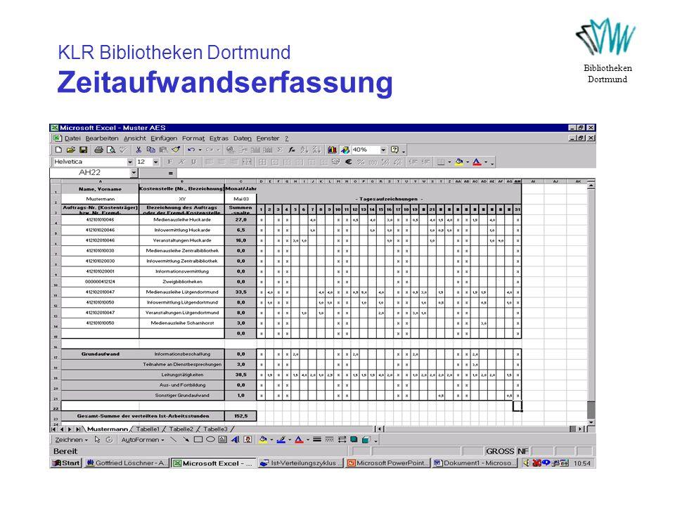 KLR Bibliotheken Dortmund Zeitaufwandserfassung
