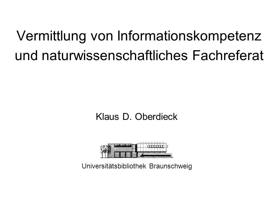 Klaus D. Oberdieck Universitätsbibliothek Braunschweig