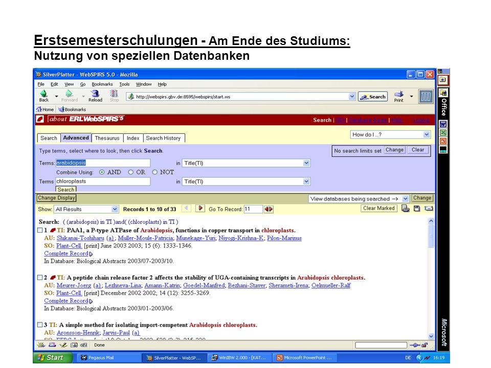 Erstsemesterschulungen - Am Ende des Studiums: Nutzung von speziellen Datenbanken