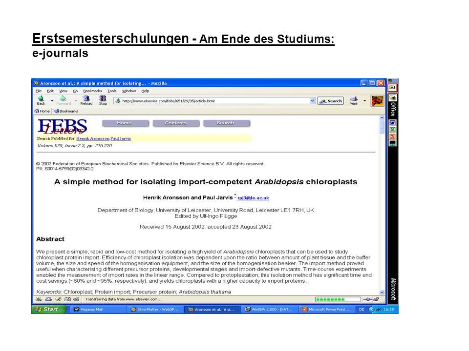 Erstsemesterschulungen - Am Ende des Studiums: e-journals
