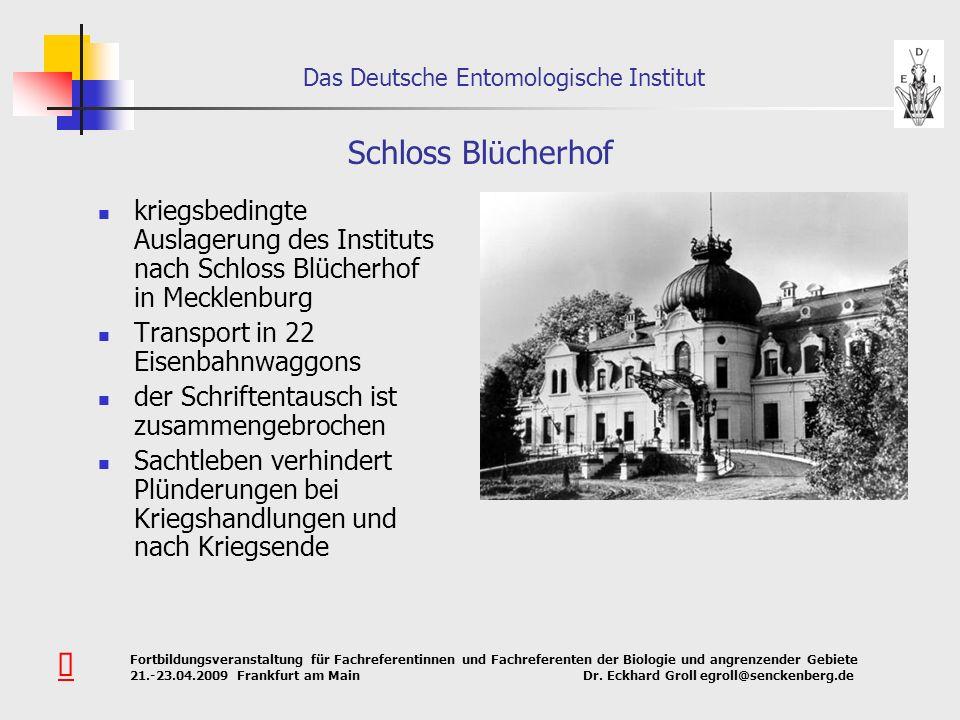 Schloss Blücherhof kriegsbedingte Auslagerung des Instituts nach Schloss Blücherhof in Mecklenburg.