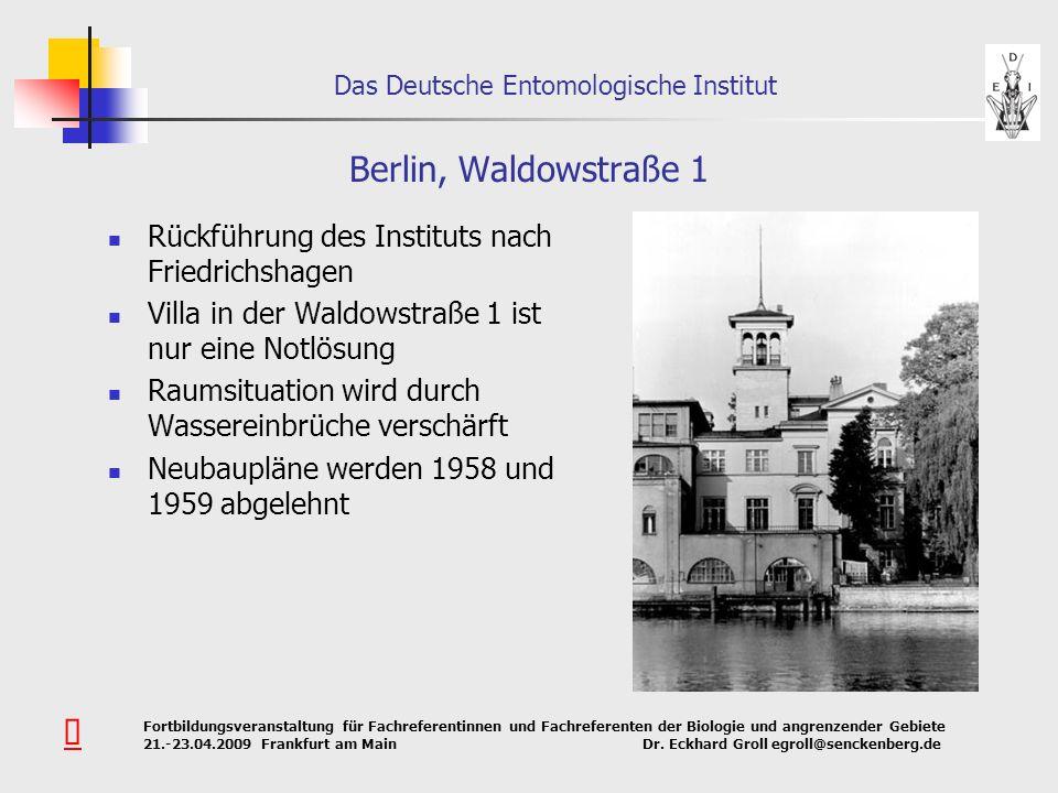 Berlin, Waldowstraße 1 Rückführung des Instituts nach Friedrichshagen. Villa in der Waldowstraße 1 ist nur eine Notlösung.