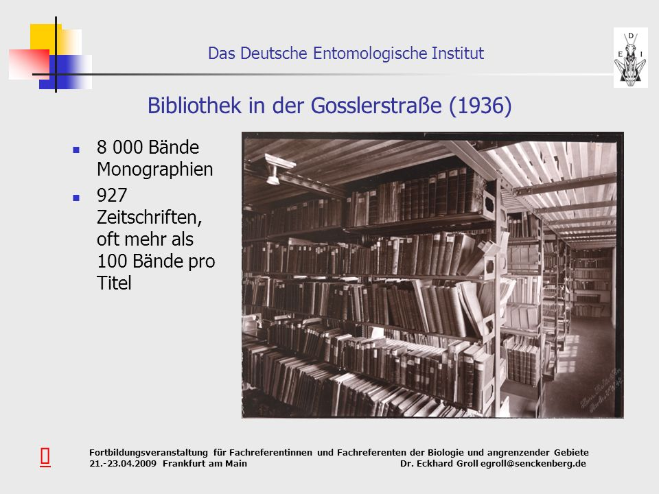 Bibliothek in der Gosslerstraße (1936)