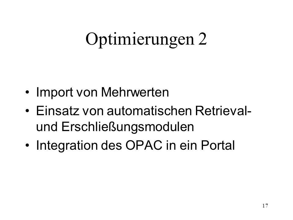 Optimierungen 2 Import von Mehrwerten