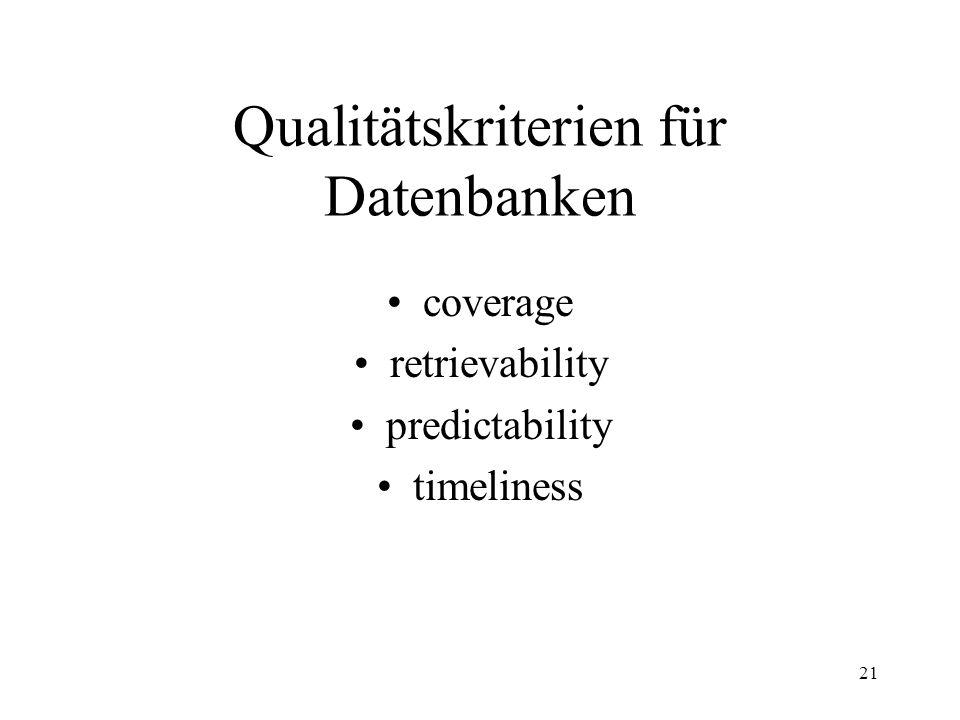 Qualitätskriterien für Datenbanken