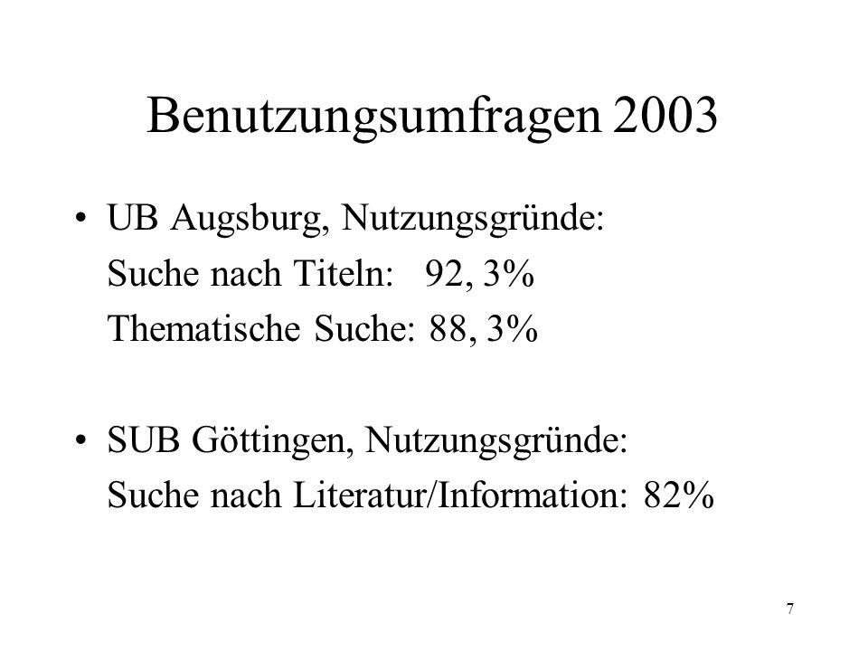 Benutzungsumfragen 2003 UB Augsburg, Nutzungsgründe: