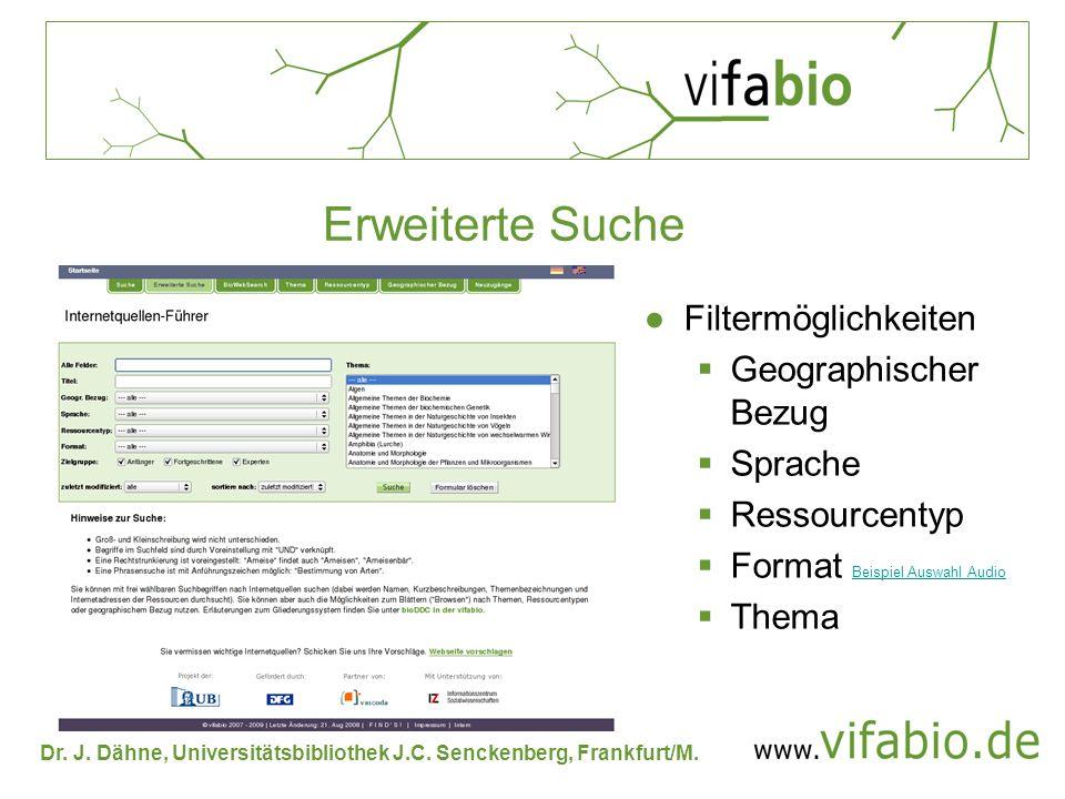 Erweiterte Suche Filtermöglichkeiten Geographischer Bezug Sprache