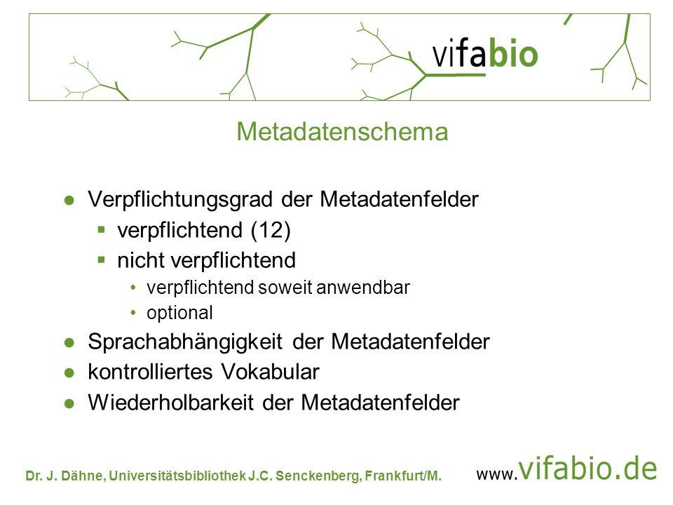Metadatenschema Verpflichtungsgrad der Metadatenfelder
