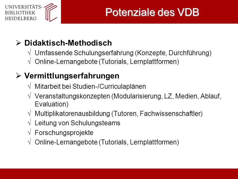 Potenziale des VDB Didaktisch-Methodisch Vermittlungserfahrungen