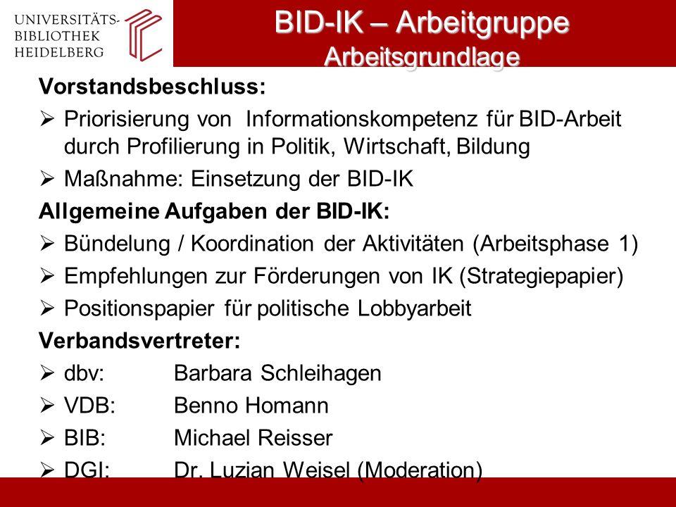 BID-IK – Arbeitgruppe Arbeitsgrundlage