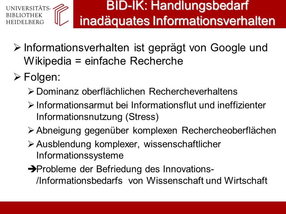BID-IK: Handlungsbedarf inadäquates Informationsverhalten