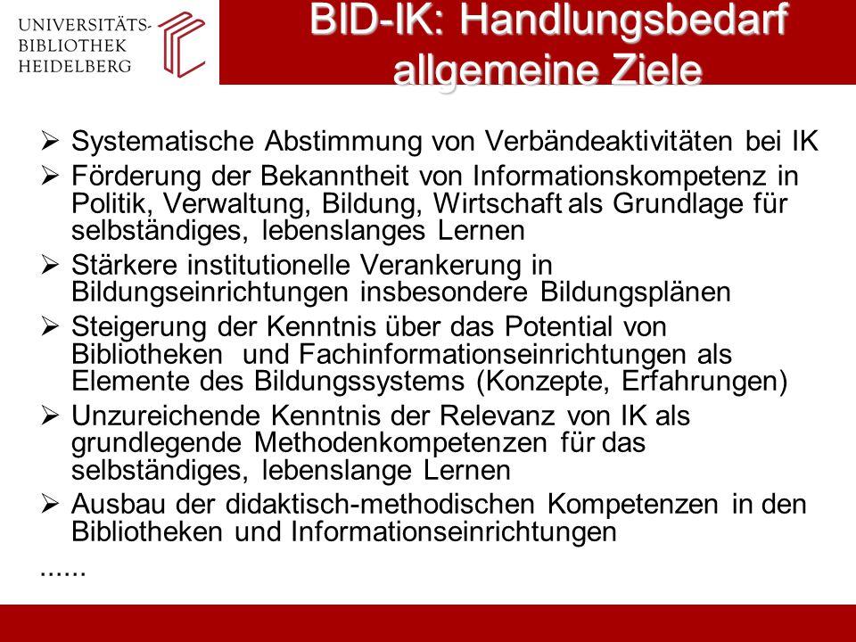 BID-IK: Handlungsbedarf allgemeine Ziele