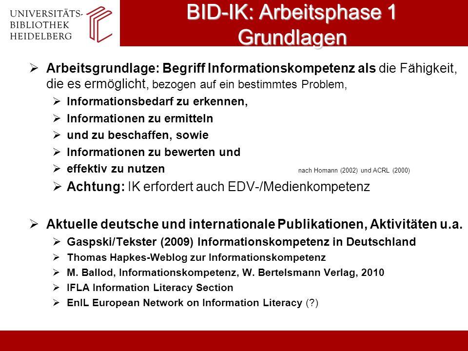 BID-IK: Arbeitsphase 1 Grundlagen