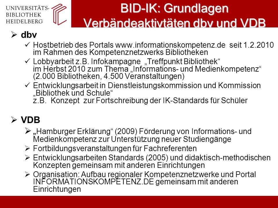BID-IK: Grundlagen Verbändeaktivtäten dbv und VDB