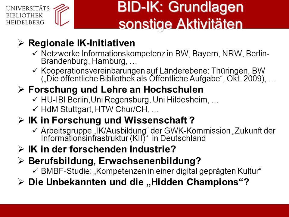 BID-IK: Grundlagen sonstige Aktivitäten