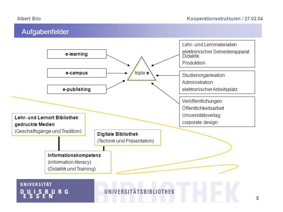 Aufgabenfelder Albert Bilo Kooperationsstrukturen / 27.02.04