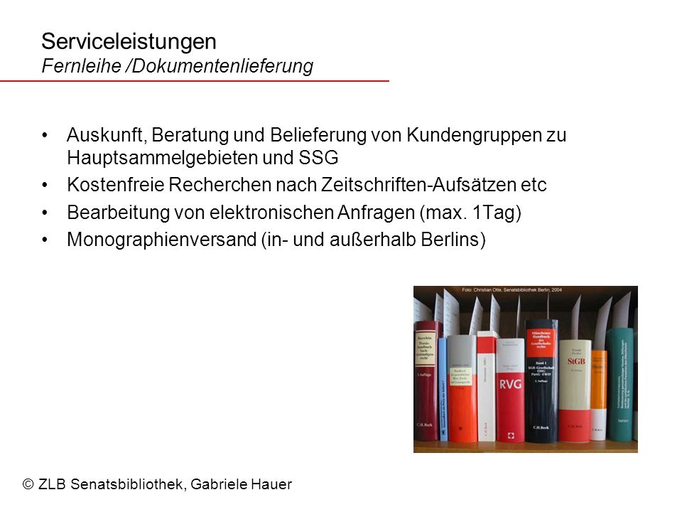 Serviceleistungen Fernleihe /Dokumentenlieferung