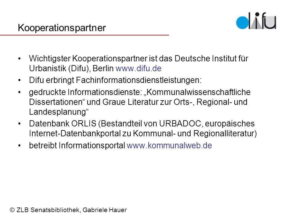 Kooperationspartner Wichtigster Kooperationspartner ist das Deutsche Institut für Urbanistik (Difu), Berlin www.difu.de.