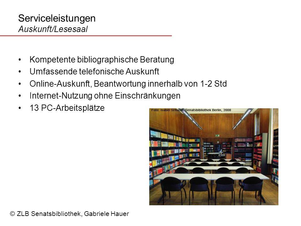 Serviceleistungen Auskunft/Lesesaal
