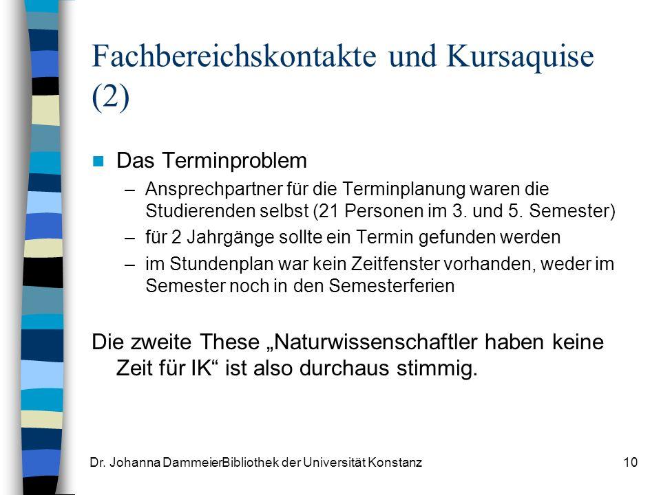Fachbereichskontakte und Kursaquise (2)