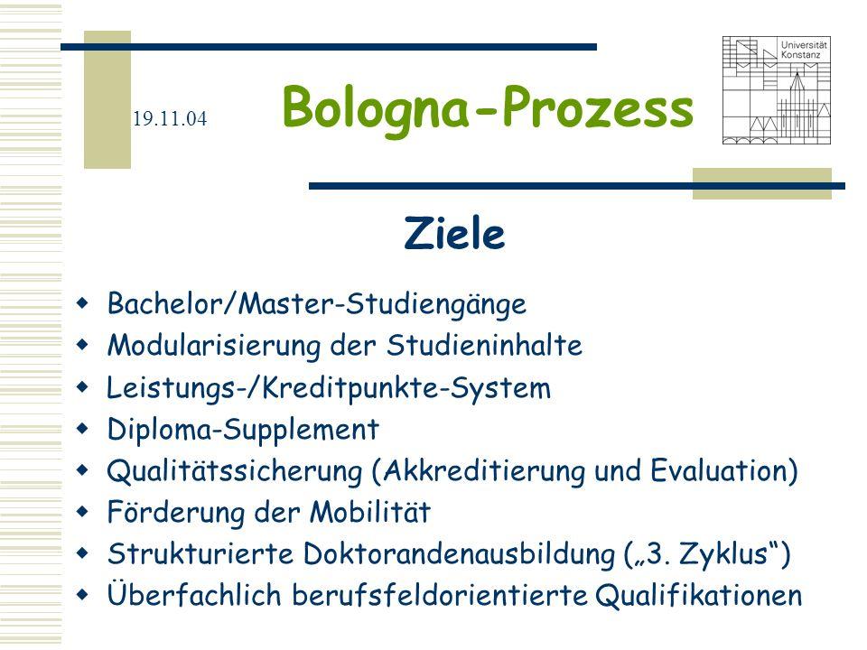 Ziele Bachelor/Master-Studiengänge Modularisierung der Studieninhalte