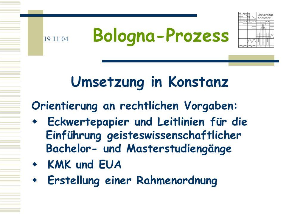 Umsetzung in Konstanz Orientierung an rechtlichen Vorgaben: