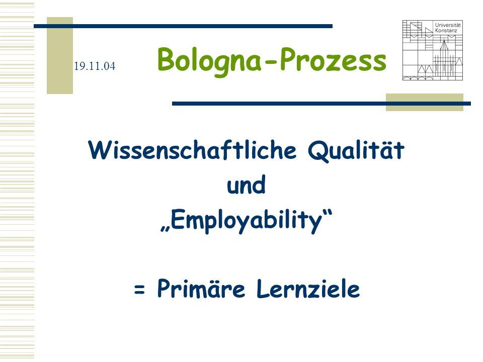 """Wissenschaftliche Qualität und """"Employability = Primäre Lernziele"""