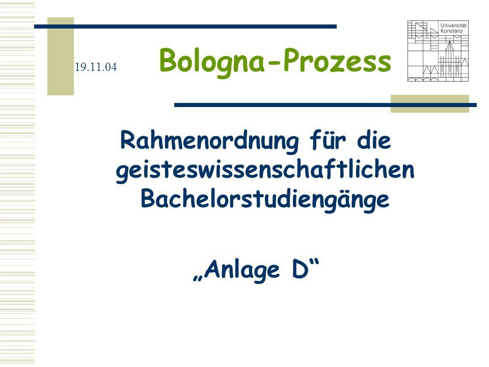 """19.11.04 Bologna-Prozess Rahmenordnung für die geisteswissenschaftlichen Bachelorstudiengänge """"Anlage D"""