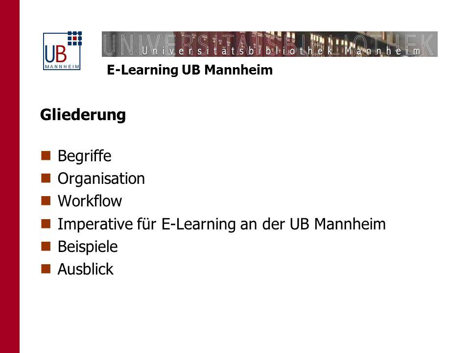 Gliederung Begriffe. Organisation. Workflow. Imperative für E-Learning an der UB Mannheim. Beispiele.
