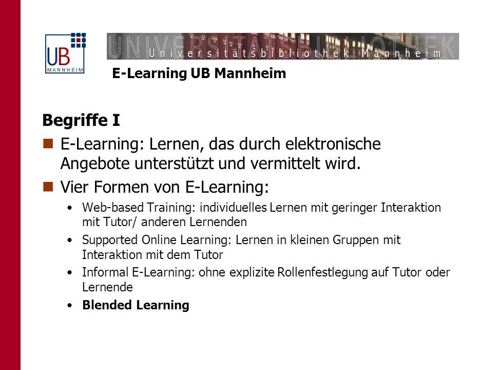 Vier Formen von E-Learning:
