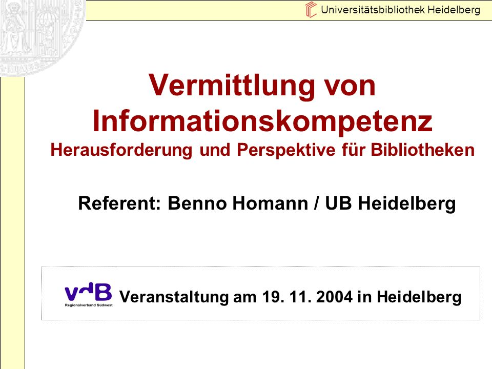 Veranstaltung am 19. 11. 2004 in Heidelberg