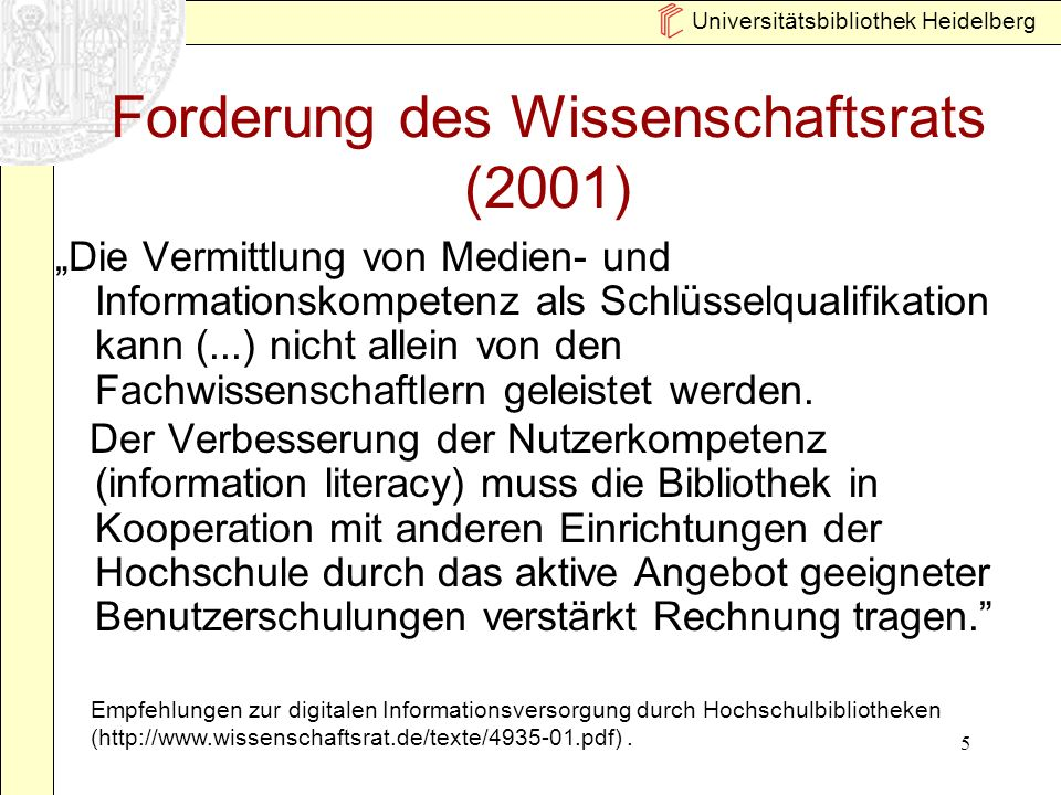 Forderung des Wissenschaftsrats (2001)