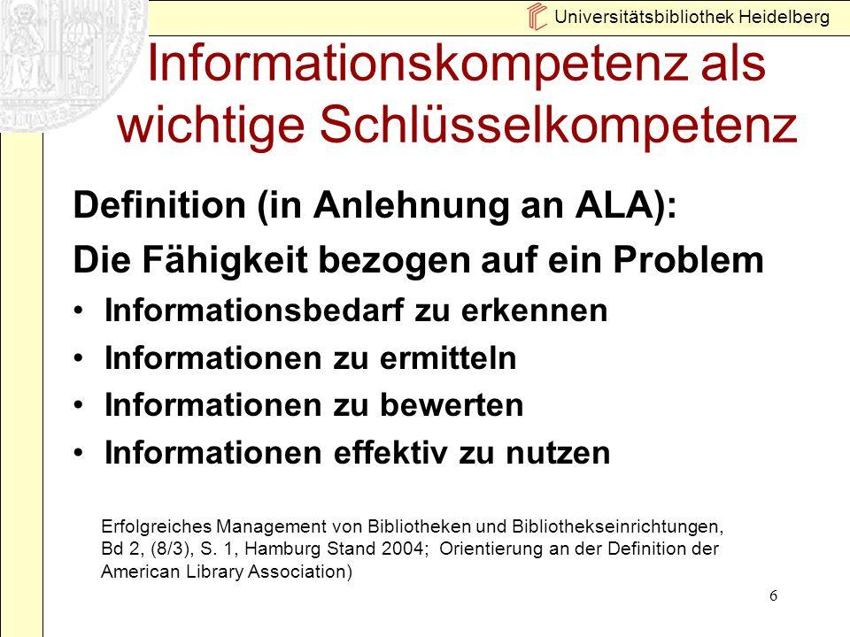 Informationskompetenz als wichtige Schlüsselkompetenz