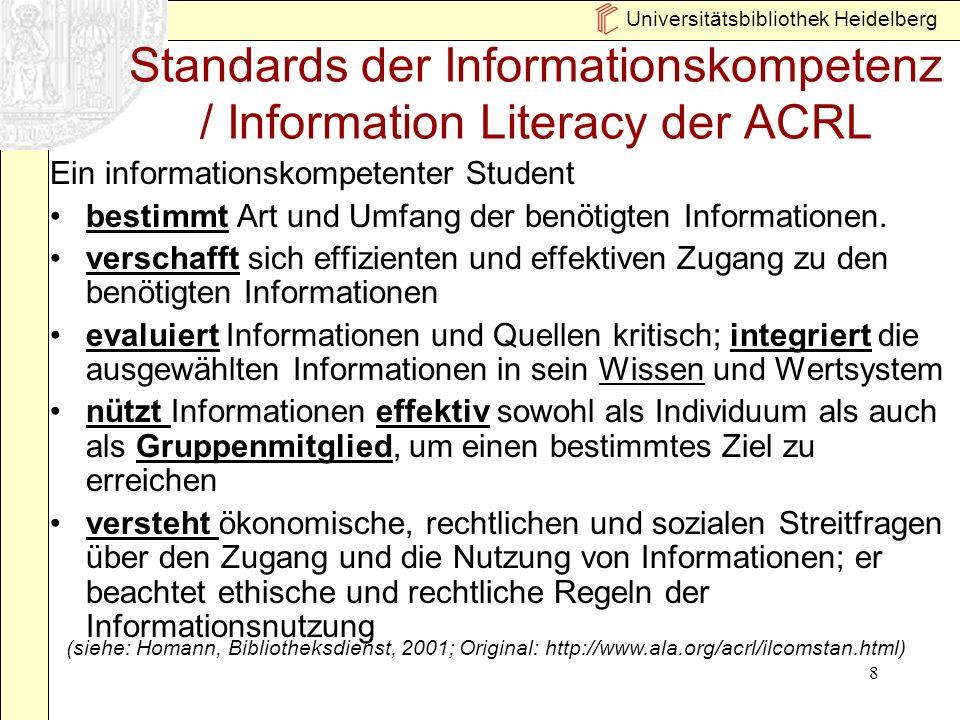 Standards der Informationskompetenz / Information Literacy der ACRL